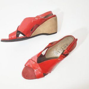 ANYI LU Red Patent Wedges Leather EUC